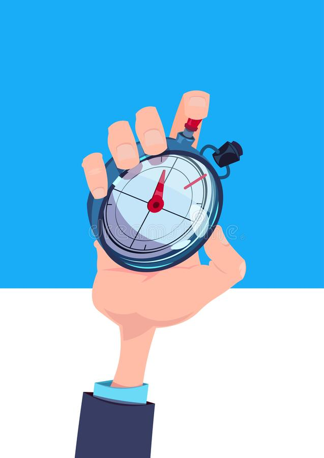 Menschliches Handgriffstoppuhrzeitmanagerchronometertimer-Konzept flach vertikal vektor abbildung