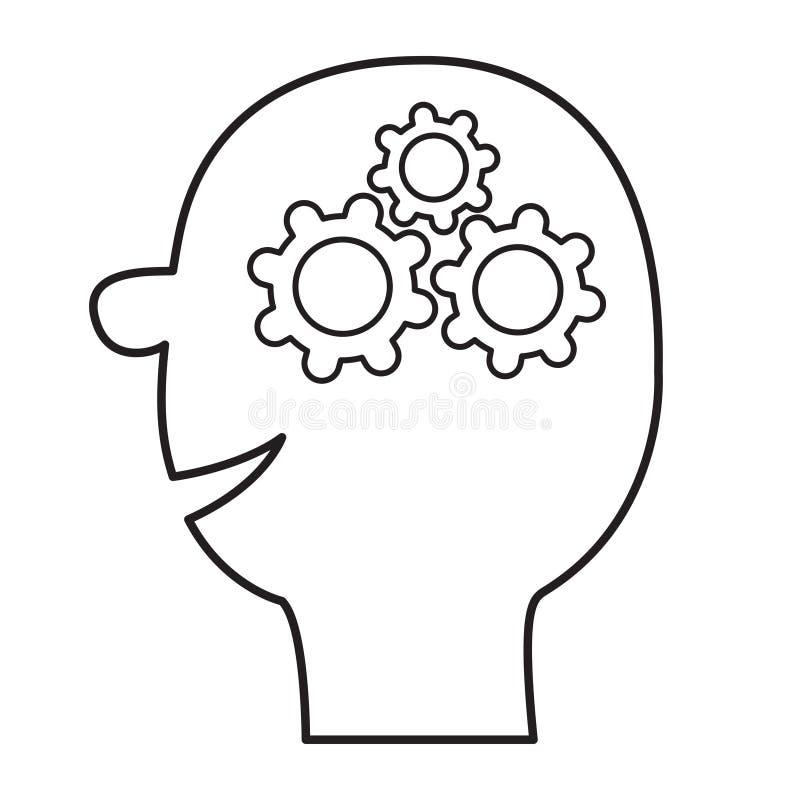 Menschliches Hauptgesicht Linie Schattenbild Gangräder innerhalb des Gehirns Teamarbeits-Geschäftskonzept Denkender Prozess Flach stock abbildung