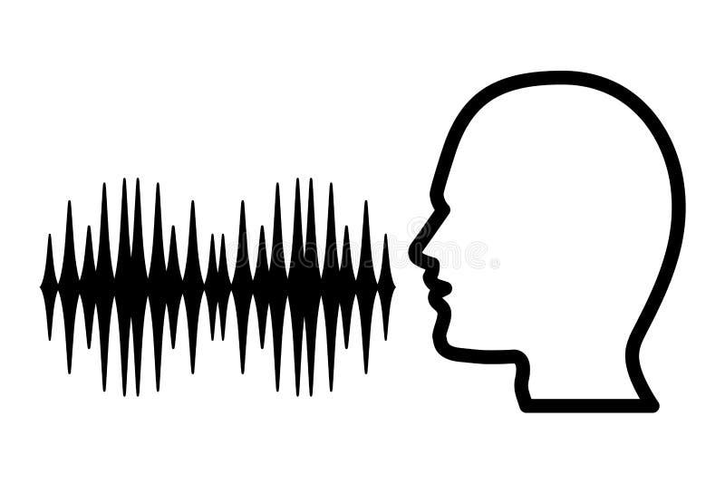 Menschliches Hauptschattenbild mit dem soliden Signal Schwarzweiss stock abbildung