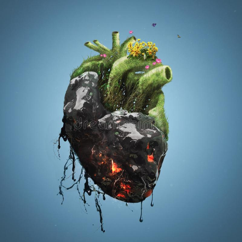 Menschliches Herz mit Tod und dem Leben vektor abbildung