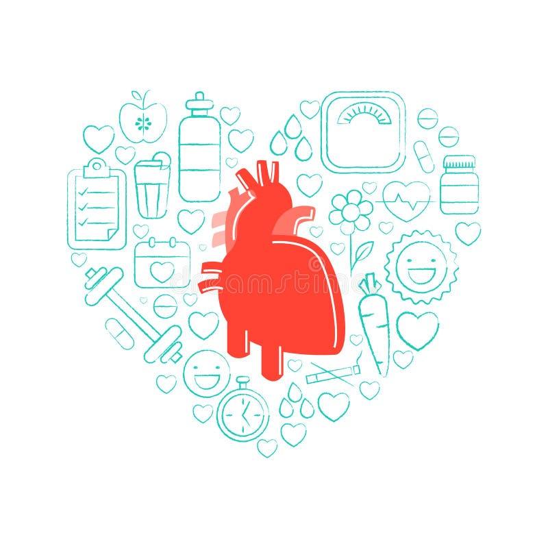 Menschliches Herz mit verschiedenen Elementen für Gesundheit und medizinisch lizenzfreie abbildung
