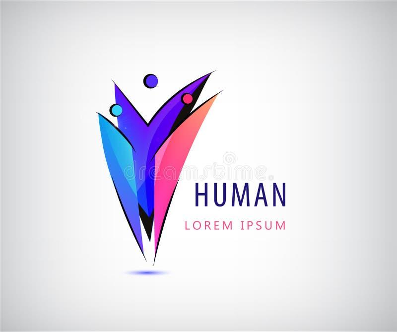 Menschliches Logo des Vektors 3 Personenikonen, Gruppe von Personen zusammen bunte Männer unterzeichnen Sozialnetz, Familie, Team lizenzfreie abbildung