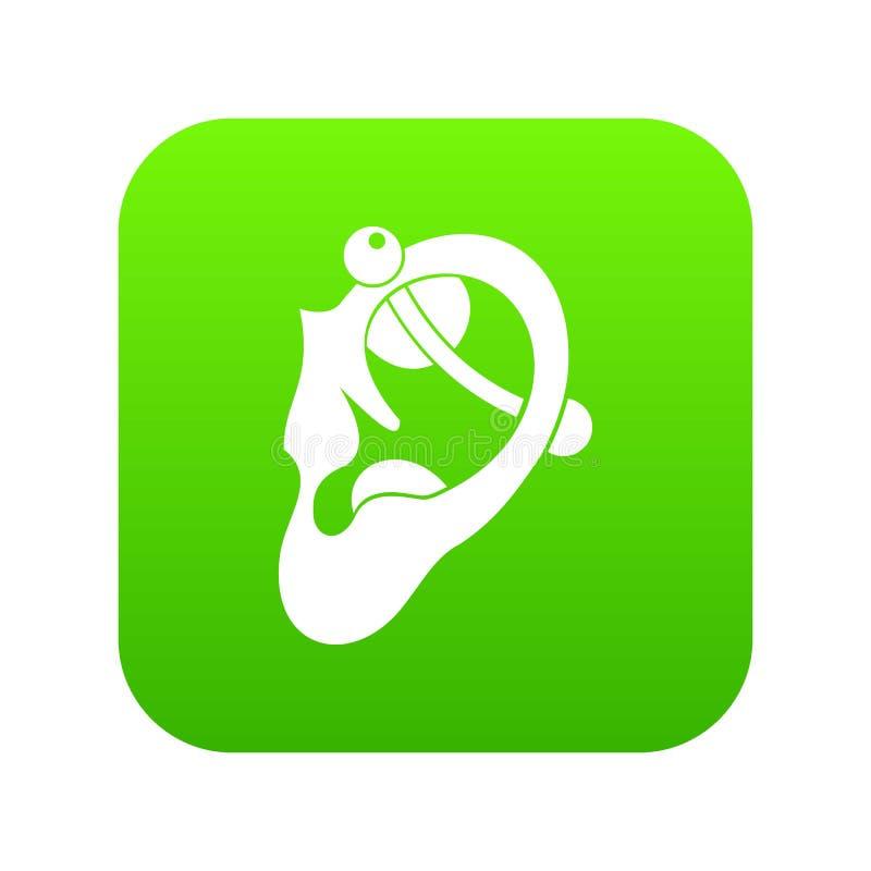 Menschliches Ohr mit digitalem Grün der piercing Ikone lizenzfreie abbildung