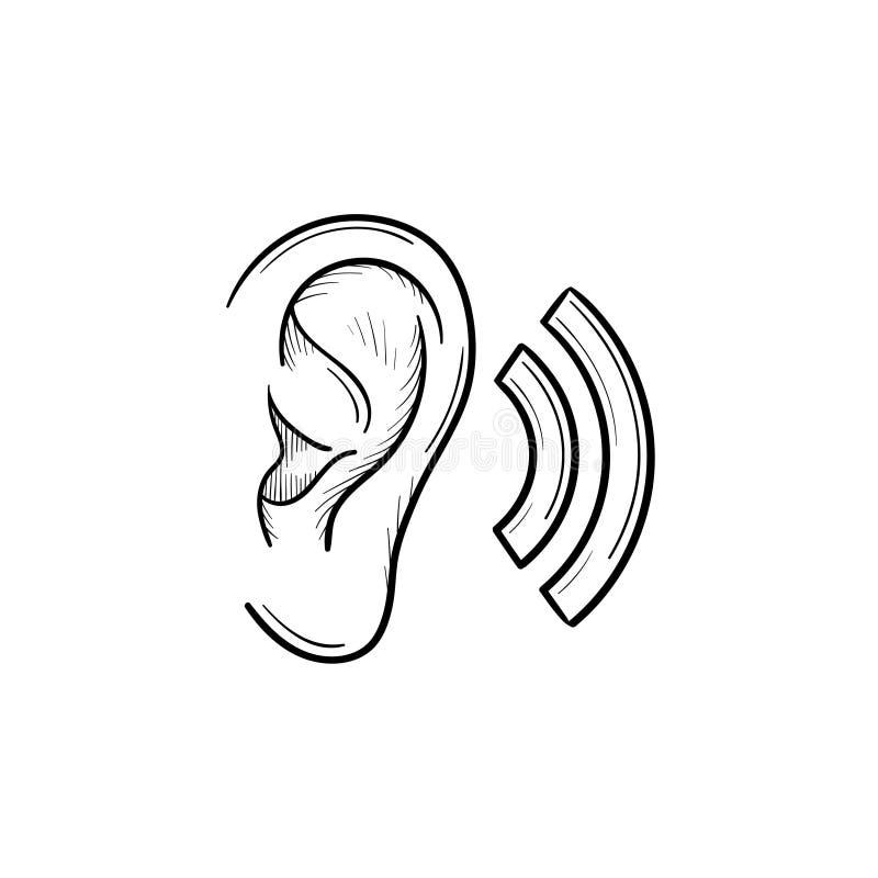 Menschliches Ohr mit Entwurfsgekritzelikone der Schallwellen Hand gezeichneter vektor abbildung