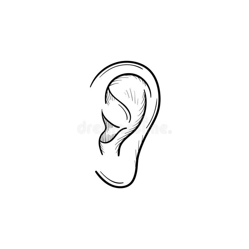 Menschliches Ohr mit Entwurfsgekritzelikone der Schallwellen Hand gezeichneter stock abbildung
