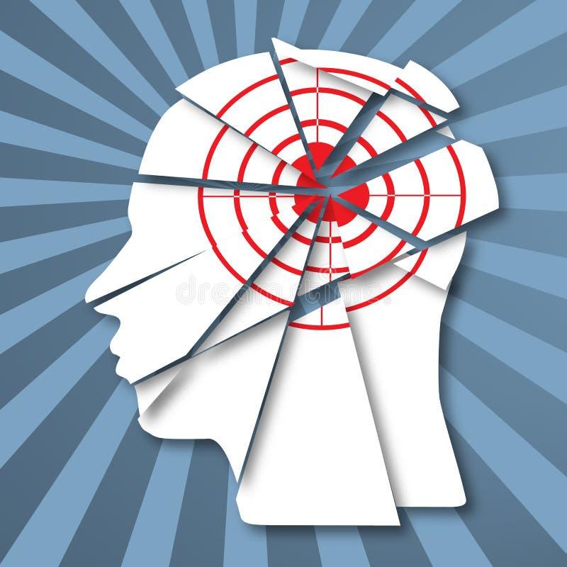 Menschliches Profil mit rotem Ziel Informationsangriff stock abbildung