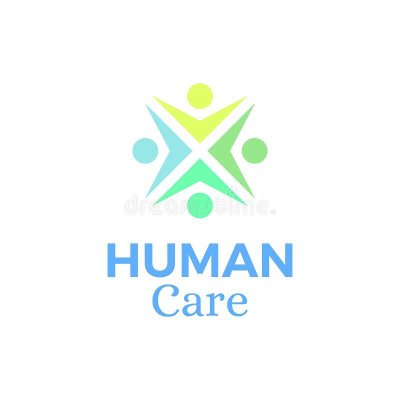 Menschliches Sorgfalt Logo, Emblem, Ausweis lizenzfreie abbildung