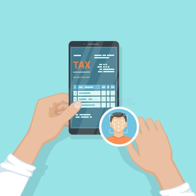 Menselijk betaal belastingen gebruikend Gezichtserkenning en Identificatie, Gezichtsidentiteitskaart op zijn smartphone Online be stock illustratie