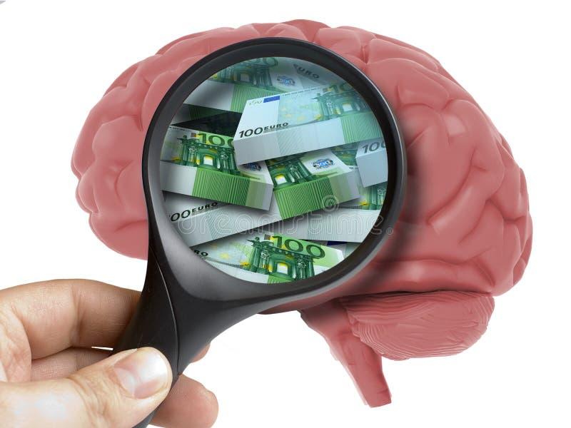Menselijk Brain Analyzed met vergrootglaspak van euro geïsoleerde bankbiljettenbinnenkant stock foto