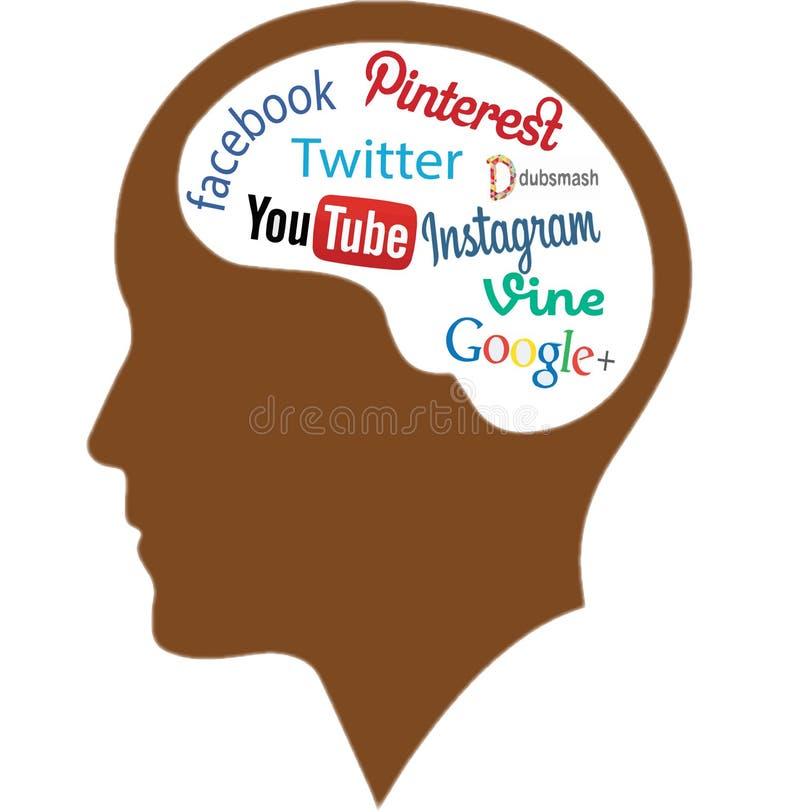 Menselijk Brain Full Of Social Networking, vectorart. stock afbeelding