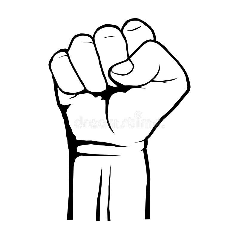Menselijk dichtgeklemd vuistprotest, rebellenrevolutieaffiche Een symbool van sterkte en superioriteit, succes, strijd voor zijn royalty-vrije illustratie