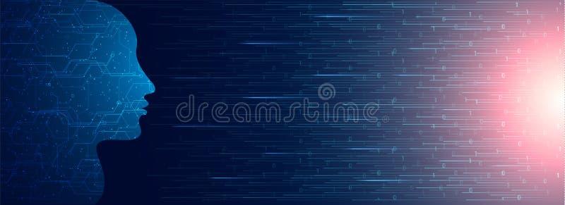 Menselijk die gezicht door digitale kring op binair gecodeerde achtergrond FO wordt gemaakt stock illustratie