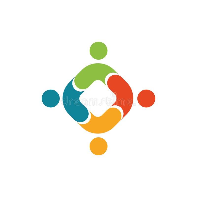 Menselijk embleem, wederzijds hulppictogram, mensen samen samenvatting logotype De mensen steunen en hopen symbool Vennootschapve royalty-vrije illustratie