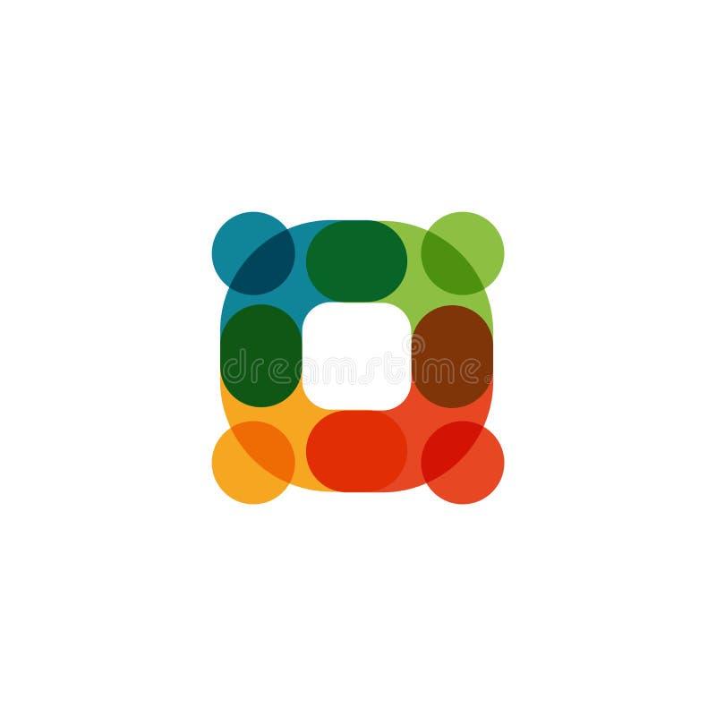 Menselijk embleem, wederzijds hulppictogram, mensen samen samenvatting logotype De mensen steunen en hopen symbool Vennootschapve stock illustratie