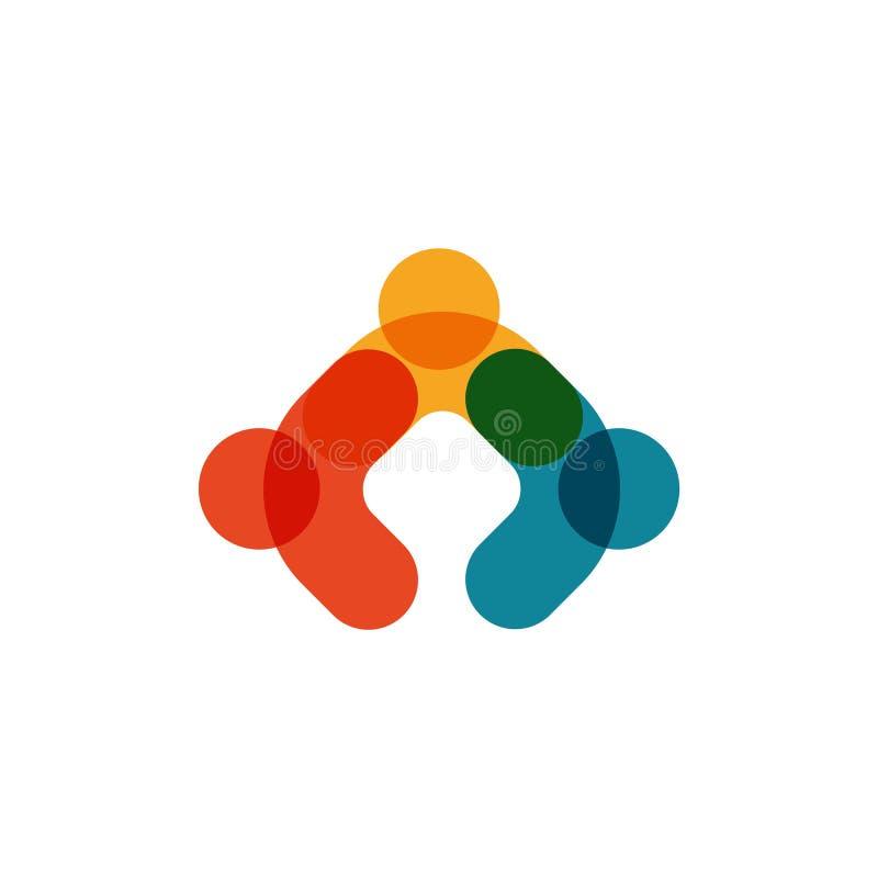 Menselijk embleem, wederzijds hulppictogram, mensen samen samenvatting logotype De mensen steunen en hopen symbool Vennootschapve vector illustratie