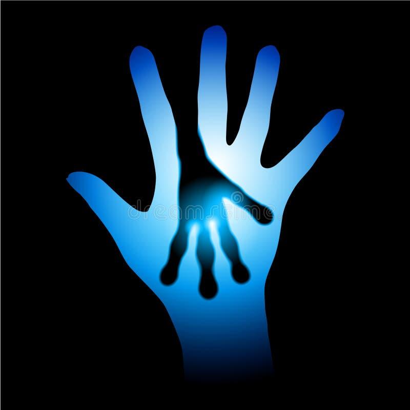 Menselijk en Vreemd handensilhouet royalty-vrije illustratie