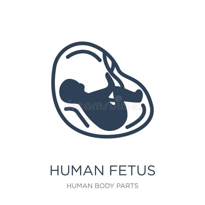 menselijk foetuspictogram in in ontwerpstijl Menselijk die Foetuspictogram op witte achtergrond wordt geïsoleerd menselijk eenvou stock illustratie