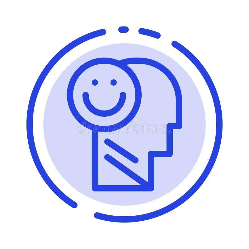 Menselijk geluk, Gelukkig, het Leven, de Lijnpictogram van de Optimisme Blauw Gestippelde Lijn stock illustratie