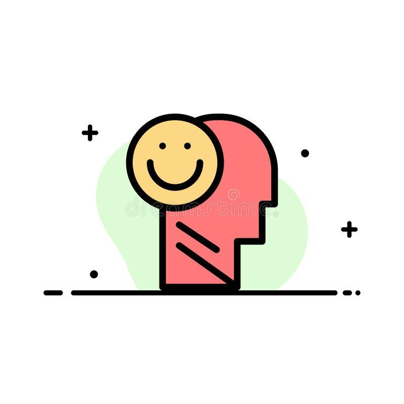 Menselijk geluk, Gelukkig, het Leven, Malplaatje Optimisme van de Bedrijfs het Vlakke Lijn Gevulde Pictogram Vectorbanner vector illustratie