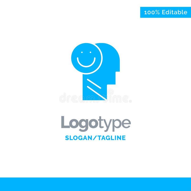 Menselijk geluk, Gelukkig, het Leven, Optimisme Blauw Stevig Logo Template Plaats voor Tagline royalty-vrije illustratie