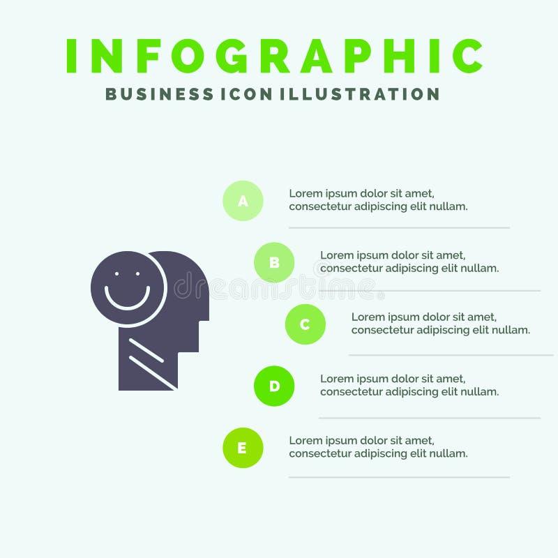 Menselijk geluk, Gelukkig, het Leven, Optimisme Stevig Pictogram Infographics 5 de Achtergrond van de Stappenpresentatie royalty-vrije illustratie