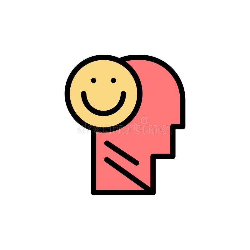 Menselijk geluk, Gelukkig, het Leven, Pictogram van de Optimisme het Vlakke Kleur Het vectormalplaatje van de pictogrambanner royalty-vrije illustratie