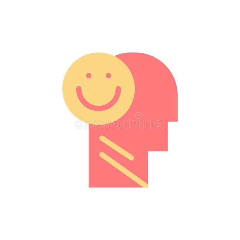 Menselijk geluk, Gelukkig, het Leven, Pictogram van de Optimisme het Vlakke Kleur Het vectormalplaatje van de pictogrambanner vector illustratie