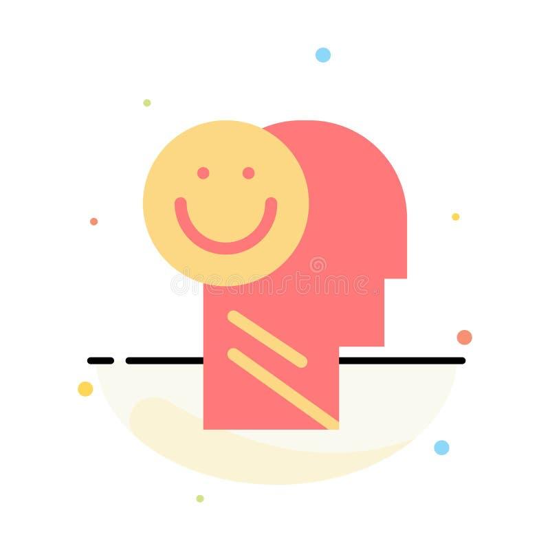 Menselijk geluk, Gelukkig, het Leven, het Pictogrammalplaatje van de Optimisme Abstract Vlak Kleur stock illustratie