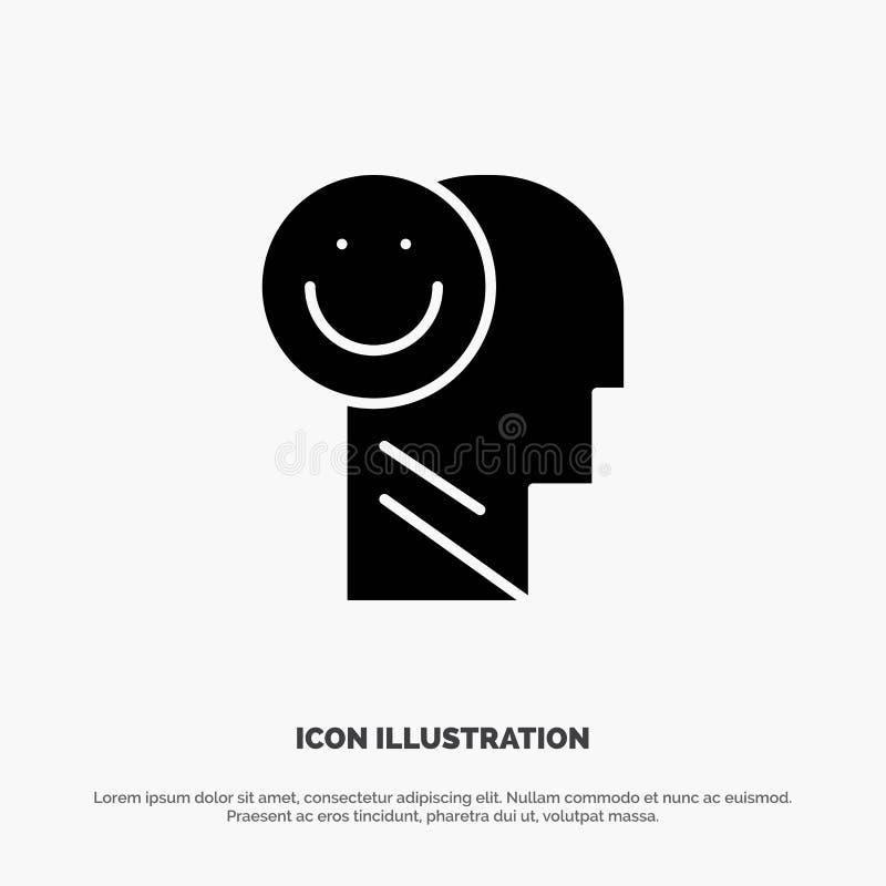 Menselijk geluk, Gelukkig, het Leven, het Pictogramvector van Optimisme stevige Glyph royalty-vrije illustratie