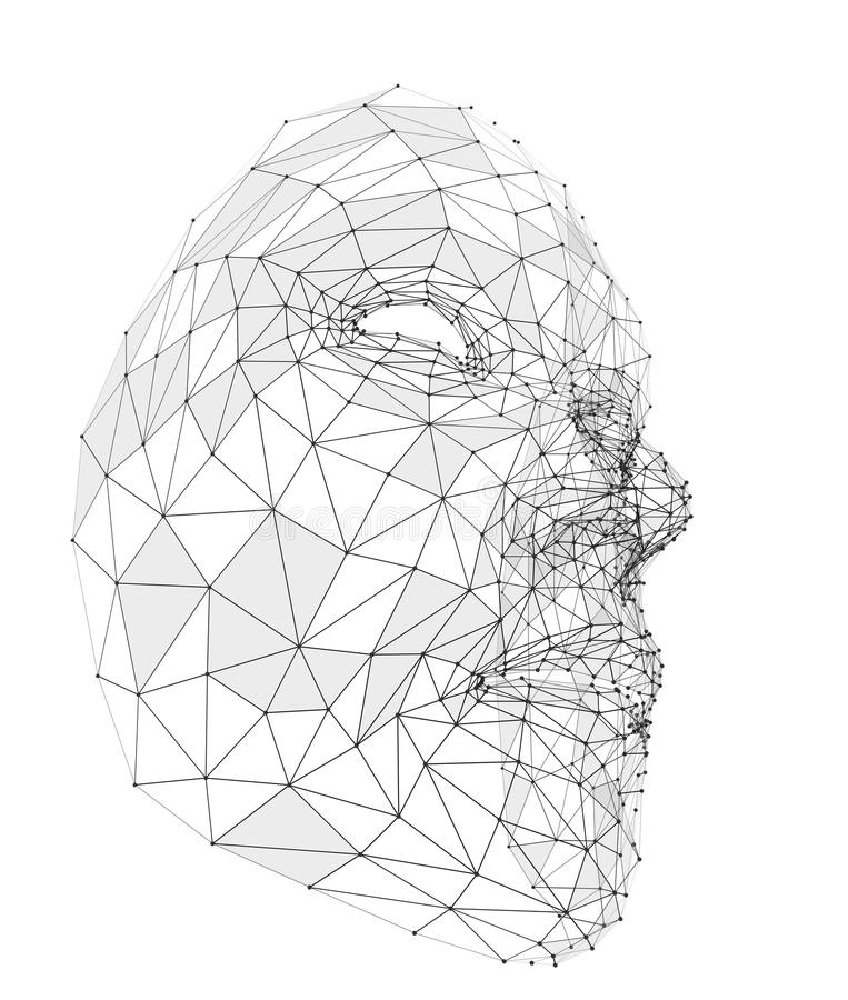 Menselijk gezicht die uit lijnen, veelhoeken en punten bestaan royalty-vrije stock afbeeldingen
