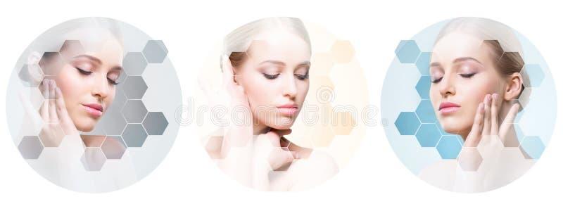 Menselijk gezicht in een collage Jonge en gezonde vrouw in plastische chirurgie, geneeskunde, kuuroord en gezichts het opheffen c royalty-vrije stock foto's