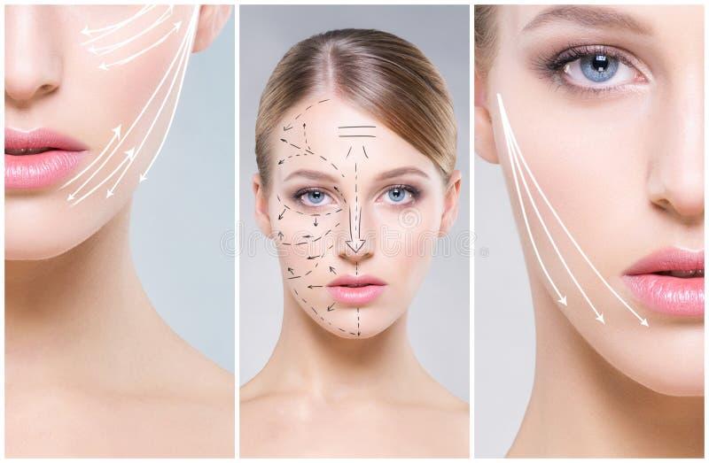 Menselijk gezicht in een collage Jonge en gezonde vrouw in plastische chirurgie, geneeskunde, kuuroord en gezichts het opheffen c royalty-vrije stock afbeeldingen
