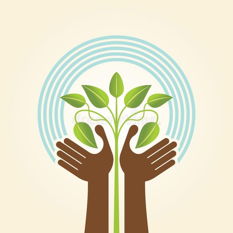 Menselijk hand & boompictogram met groene bladeren - de vector van het ecoconcept royalty-vrije illustratie