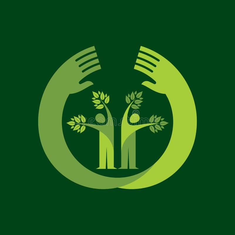 Menselijk hand & boompictogram met groene bladeren - ecoconcept vector illustratie