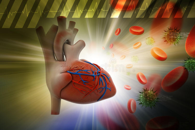 Menselijk hart met plaatjes en virus stock illustratie