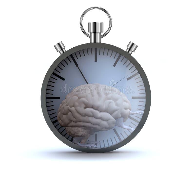 Menselijk hersenenorgaan met armen en benen die in een hamsterwiel lopen vector illustratie