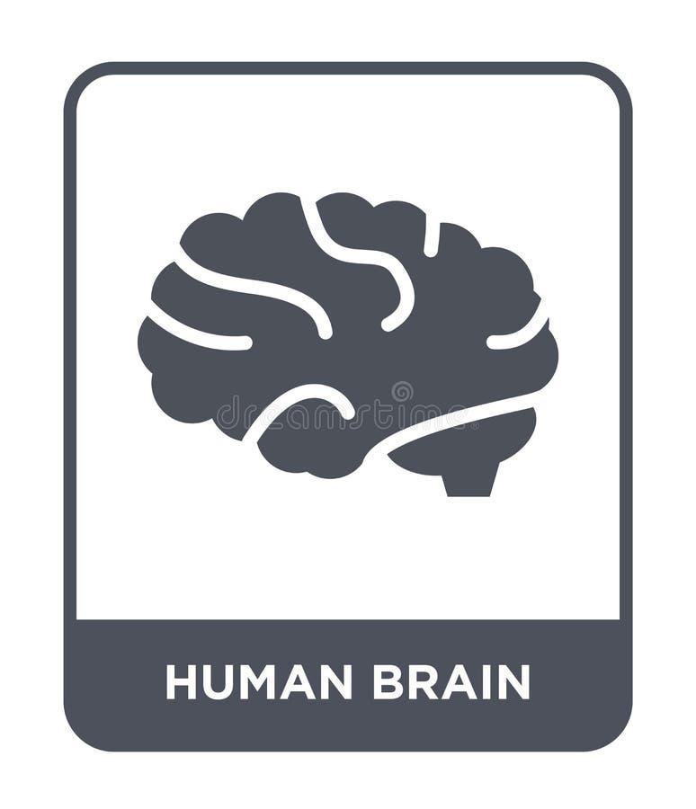 menselijk hersenenpictogram in in ontwerpstijl Menselijk die Hersenenpictogram op witte achtergrond wordt geïsoleerd menselijk ee royalty-vrije illustratie