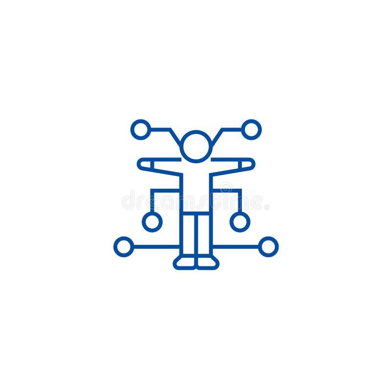 Menselijk het pictogramconcept van de analyselijn Menselijk analyse vlak vectorsymbool, teken, overzichtsillustratie stock illustratie