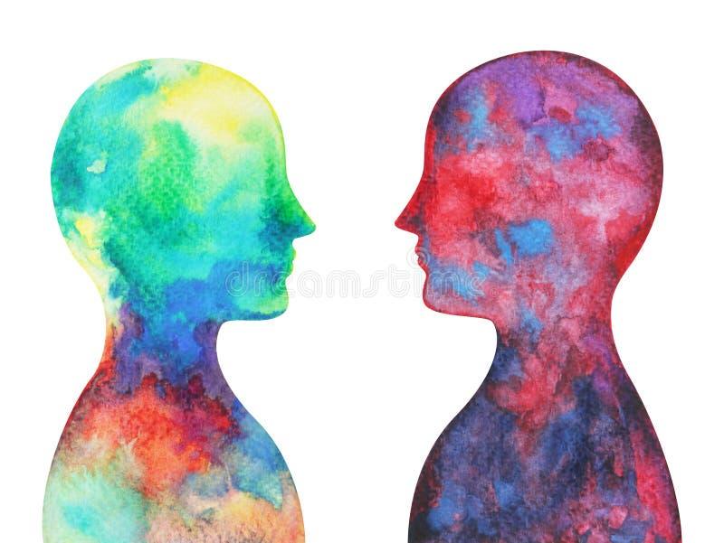 Menselijk hoofd, chakramacht, inspiratie abstracte gedachte royalty-vrije illustratie
