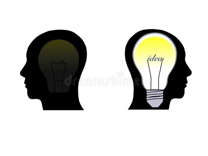 Menselijk hoofd die een nieuw idee denken stock illustratie