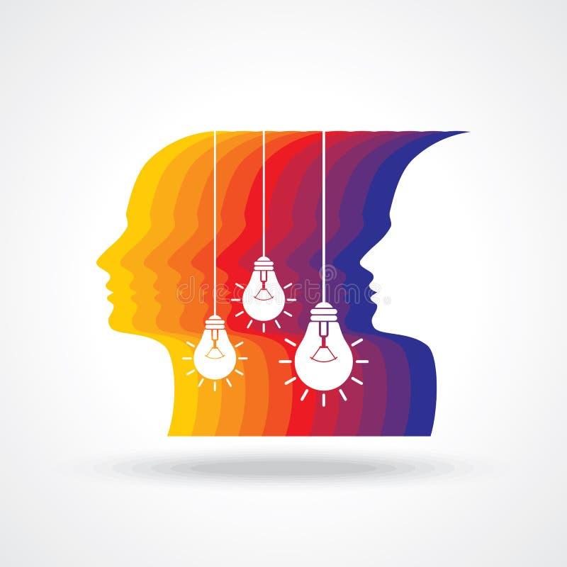 Menselijk hoofd die een nieuw idee denken vector illustratie