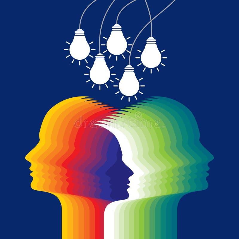Menselijk hoofd die een nieuw idee denken royalty-vrije illustratie