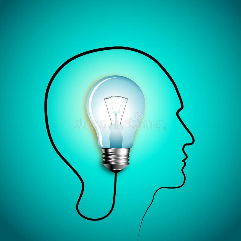 Menselijk hoofd die een nieuw idee denken Creatief idee vector illustratie