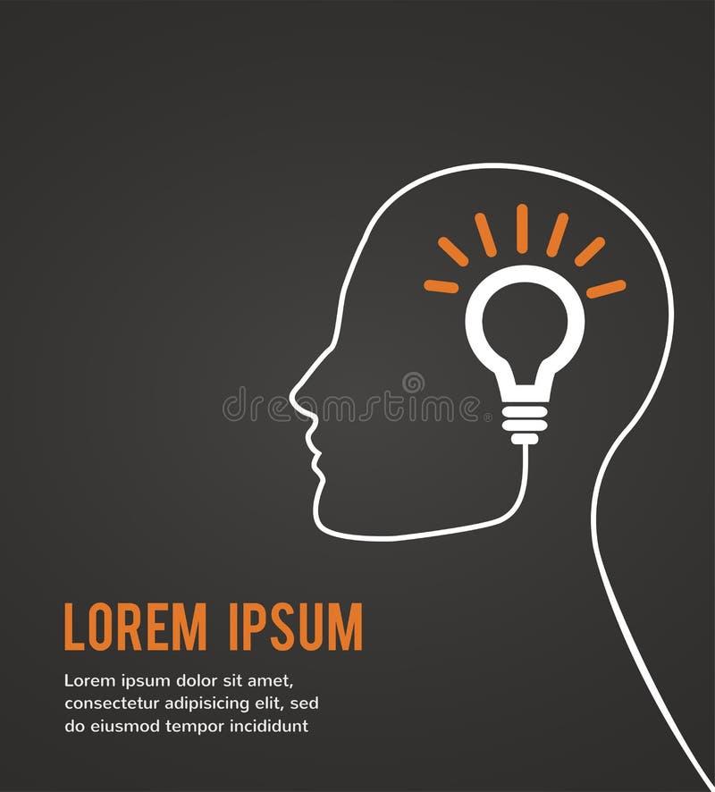 Menselijk hoofd die een nieuw idee op zwarte achtergrond denken vector illustratie