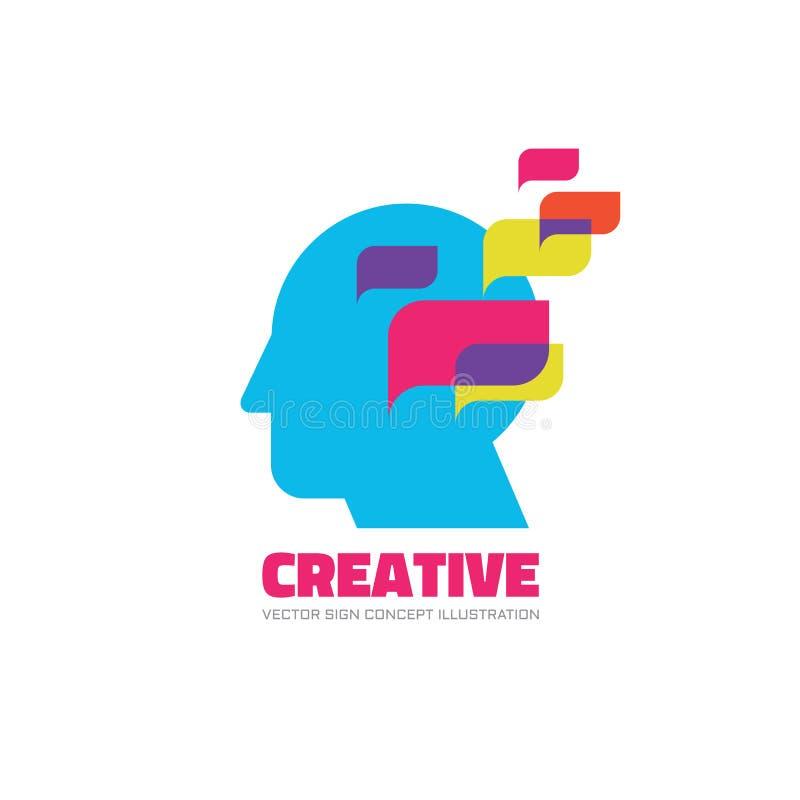 Menselijk hoofd - leid - de vectorillustratie van het embleemconcept Creatief idee Het leren onderwijsteken Denkend hersenensymbo royalty-vrije illustratie