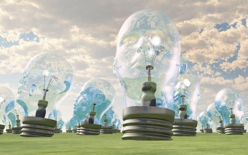 Menselijk hoofd lightbulbs royalty-vrije illustratie