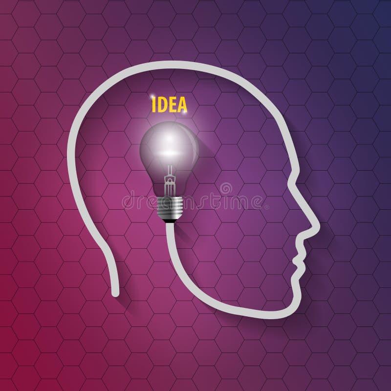 Menselijk hoofd met bol Het denken van een nieuw idee op hexagonale achtergrond stock illustratie