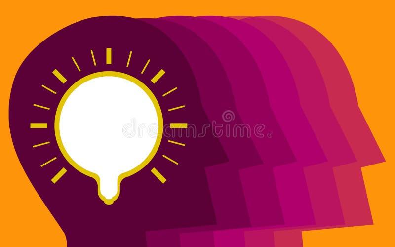 Menselijk hoofd met gloeilamp voor nieuw idee stock illustratie