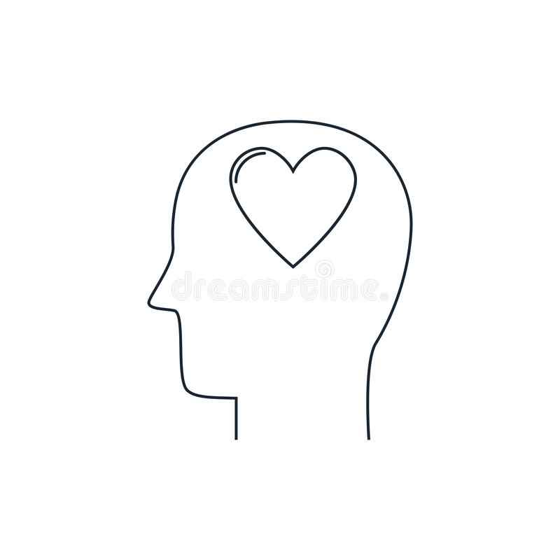 Menselijk hoofd met hartpictogram, liefdesymbool, vlak ontwerp, dunne lijn vector illustratie