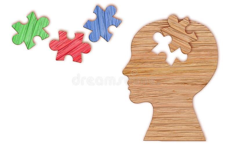 Menselijk hoofdsilhouet, geestelijk gezondheidssymbool Raadsel stock afbeeldingen